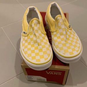 Yellow & white check Vans - sz 2 youth